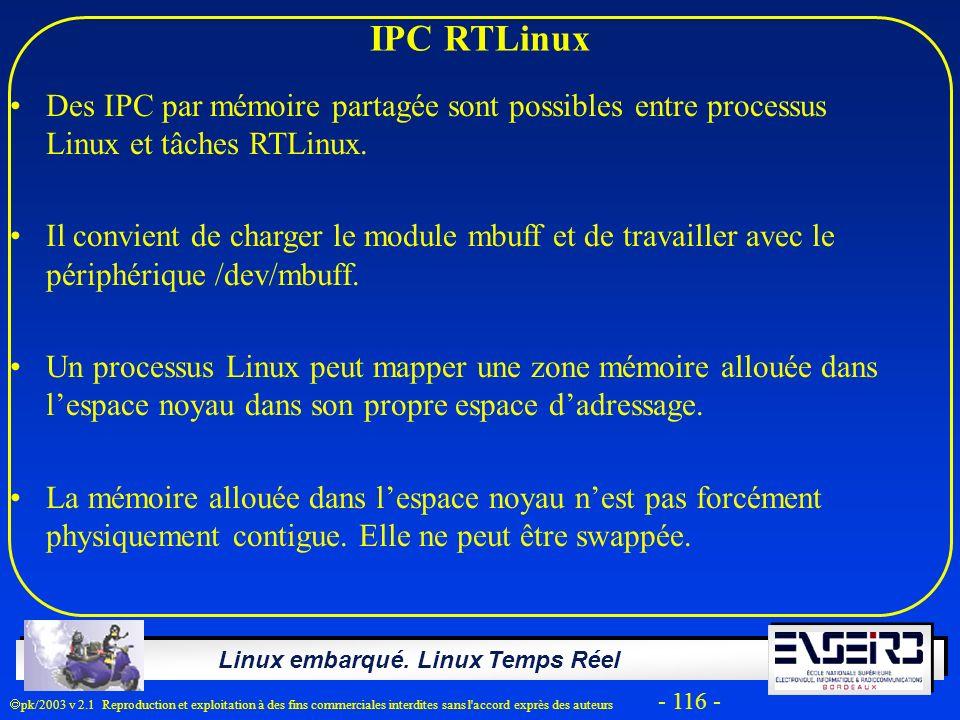 Linux embarqué. Linux Temps Réel pk/2003 v 2.1 Reproduction et exploitation à des fins commerciales interdites sans l'accord exprès des auteurs - 116