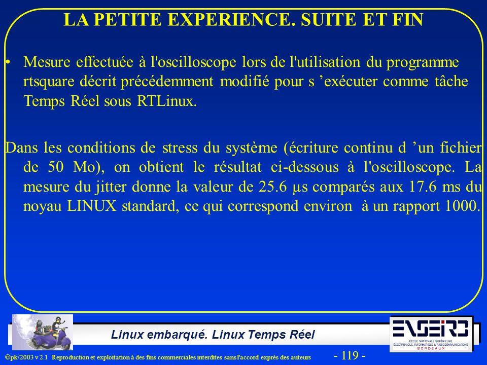 Linux embarqué. Linux Temps Réel pk/2003 v 2.1 Reproduction et exploitation à des fins commerciales interdites sans l'accord exprès des auteurs - 119