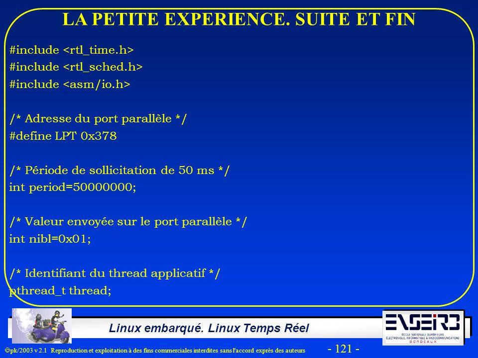Linux embarqué. Linux Temps Réel pk/2003 v 2.1 Reproduction et exploitation à des fins commerciales interdites sans l'accord exprès des auteurs - 121