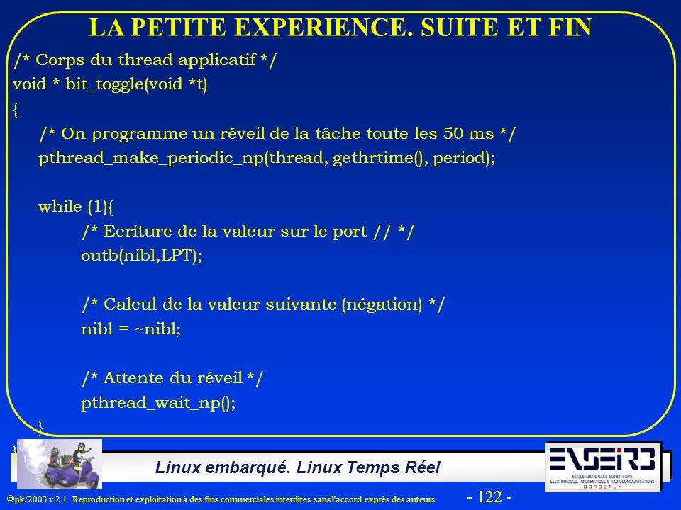 Linux embarqué. Linux Temps Réel pk/2003 v 2.1 Reproduction et exploitation à des fins commerciales interdites sans l'accord exprès des auteurs - 122