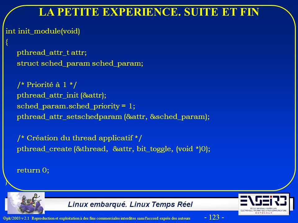 Linux embarqué. Linux Temps Réel pk/2003 v 2.1 Reproduction et exploitation à des fins commerciales interdites sans l'accord exprès des auteurs - 123