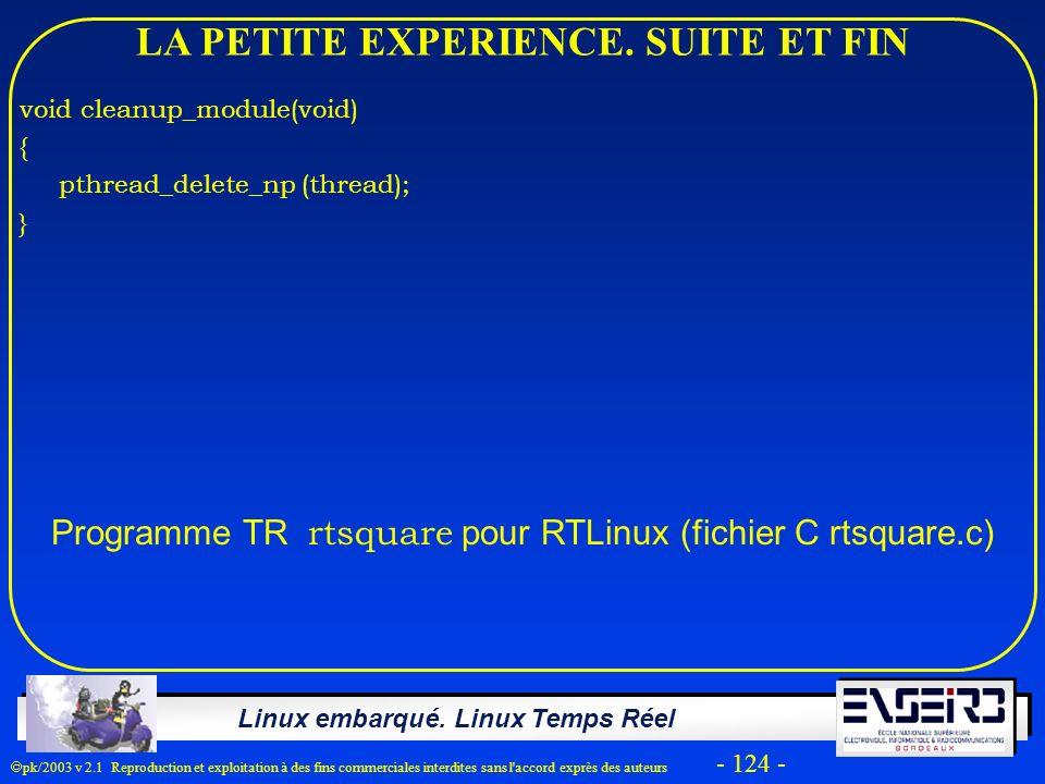 Linux embarqué. Linux Temps Réel pk/2003 v 2.1 Reproduction et exploitation à des fins commerciales interdites sans l'accord exprès des auteurs - 124