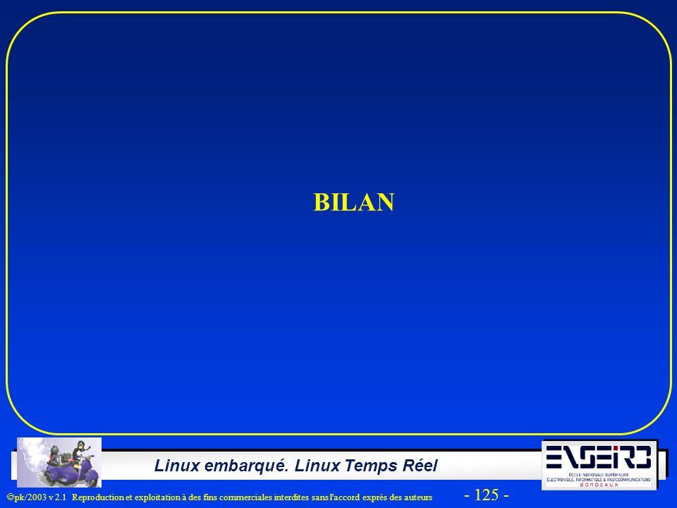 Linux embarqué. Linux Temps Réel pk/2003 v 2.1 Reproduction et exploitation à des fins commerciales interdites sans l'accord exprès des auteurs - 125