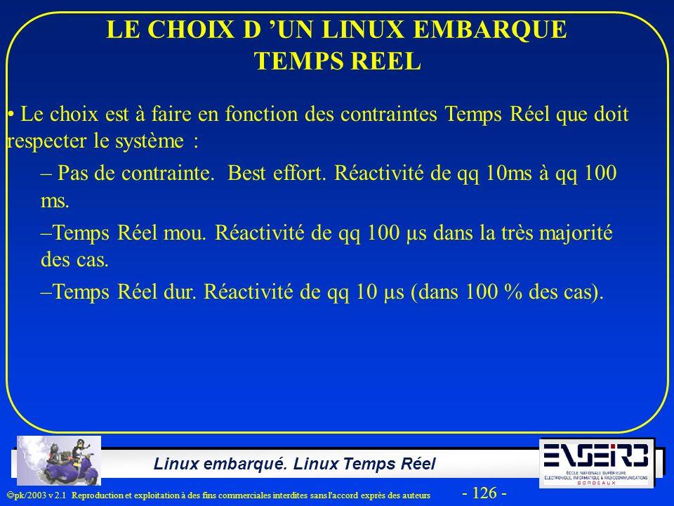 Linux embarqué. Linux Temps Réel pk/2003 v 2.1 Reproduction et exploitation à des fins commerciales interdites sans l'accord exprès des auteurs - 126