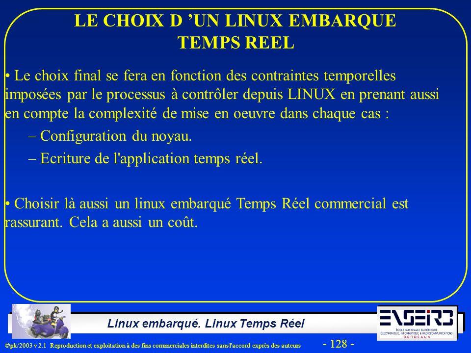 Linux embarqué. Linux Temps Réel pk/2003 v 2.1 Reproduction et exploitation à des fins commerciales interdites sans l'accord exprès des auteurs - 128