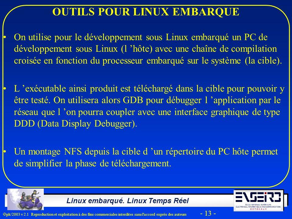 Linux embarqué. Linux Temps Réel pk/2003 v 2.1 Reproduction et exploitation à des fins commerciales interdites sans l'accord exprès des auteurs - 13 -