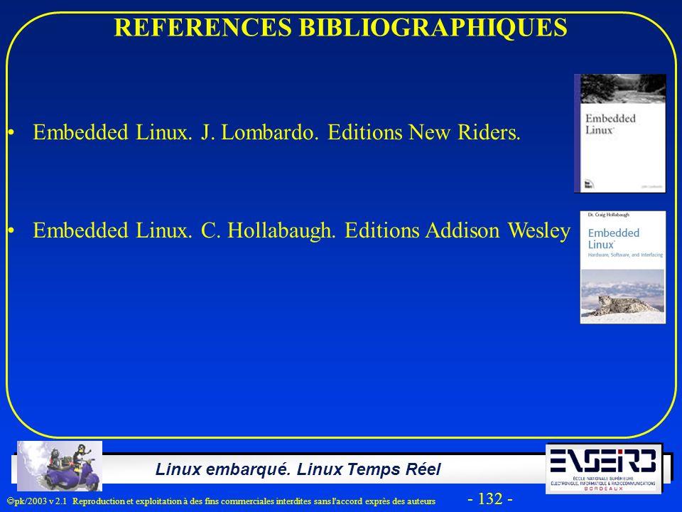 Linux embarqué. Linux Temps Réel pk/2003 v 2.1 Reproduction et exploitation à des fins commerciales interdites sans l'accord exprès des auteurs - 132