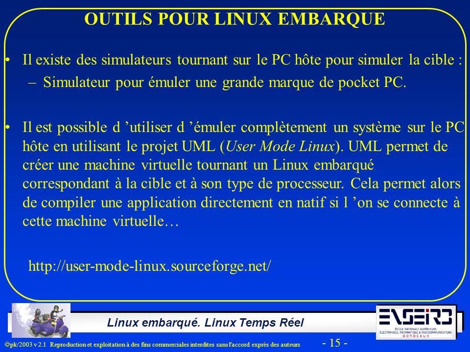 Linux embarqué. Linux Temps Réel pk/2003 v 2.1 Reproduction et exploitation à des fins commerciales interdites sans l'accord exprès des auteurs - 15 -