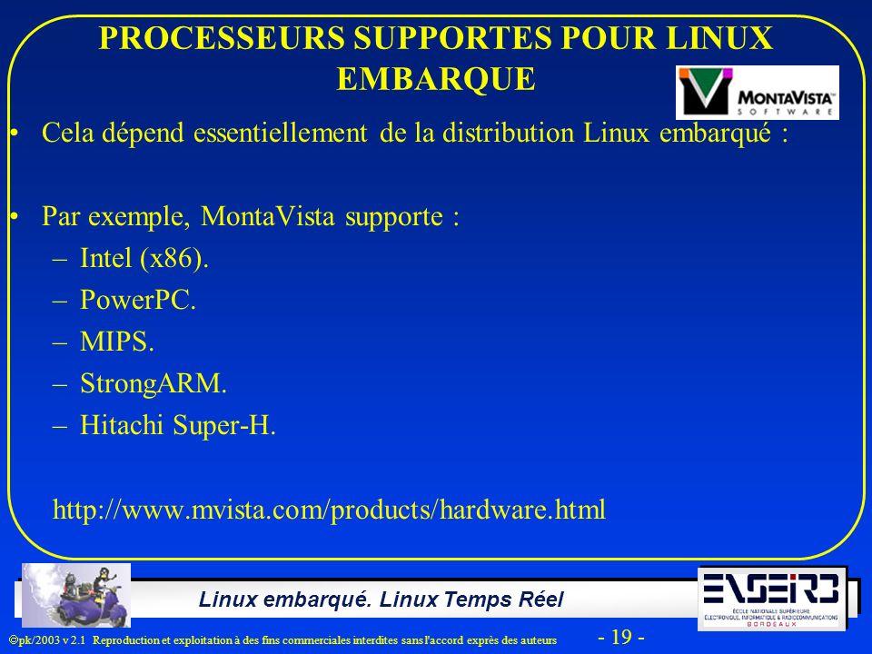 Linux embarqué. Linux Temps Réel pk/2003 v 2.1 Reproduction et exploitation à des fins commerciales interdites sans l'accord exprès des auteurs - 19 -