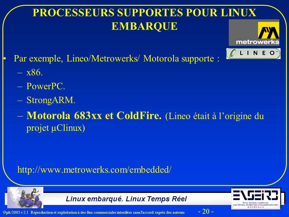 Linux embarqué. Linux Temps Réel pk/2003 v 2.1 Reproduction et exploitation à des fins commerciales interdites sans l'accord exprès des auteurs - 20 -