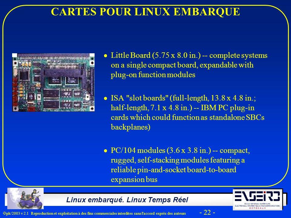 Linux embarqué. Linux Temps Réel pk/2003 v 2.1 Reproduction et exploitation à des fins commerciales interdites sans l'accord exprès des auteurs - 22 -
