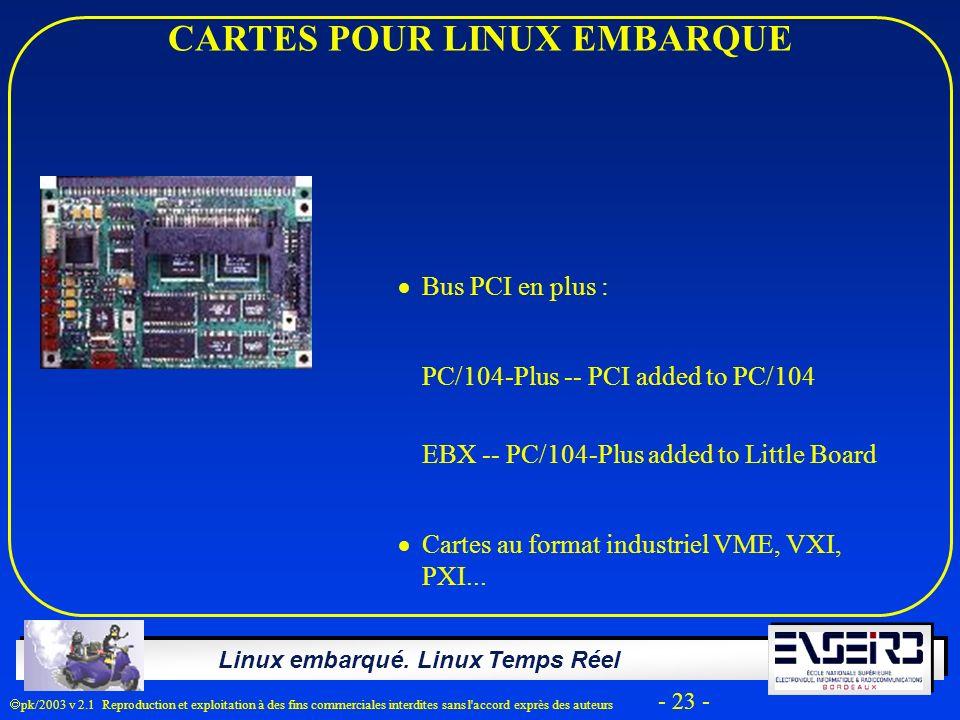 Linux embarqué. Linux Temps Réel pk/2003 v 2.1 Reproduction et exploitation à des fins commerciales interdites sans l'accord exprès des auteurs - 23 -