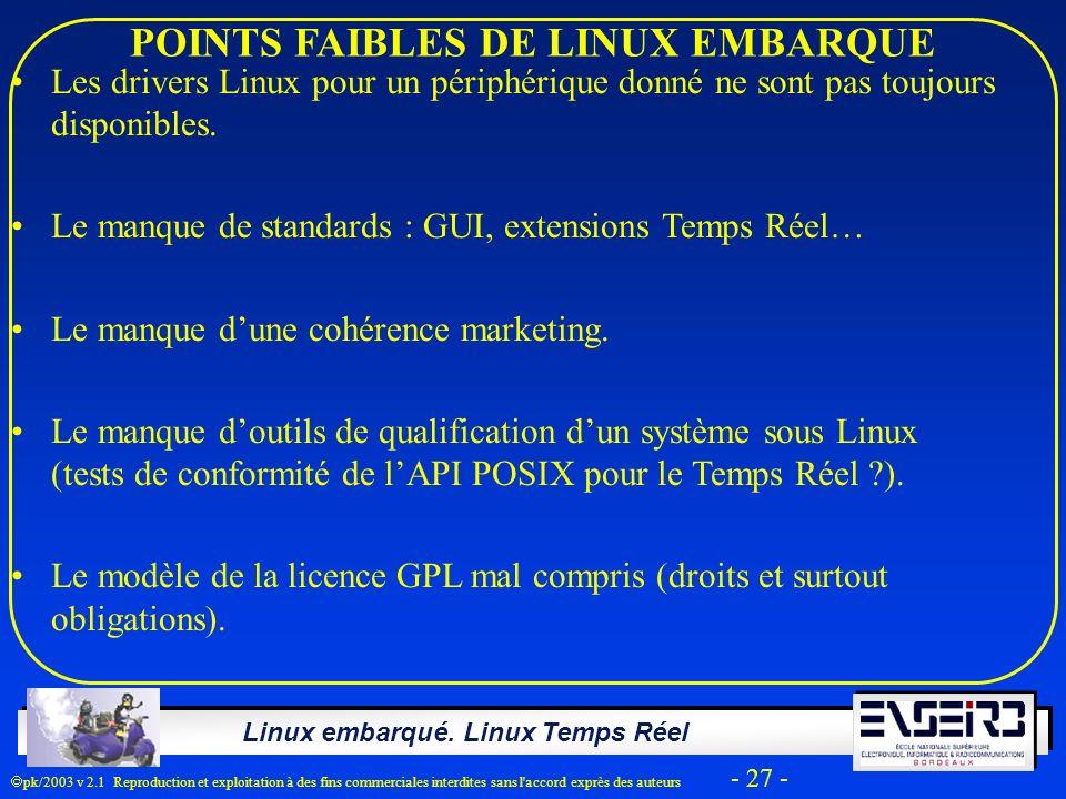 Linux embarqué. Linux Temps Réel pk/2003 v 2.1 Reproduction et exploitation à des fins commerciales interdites sans l'accord exprès des auteurs - 27 -