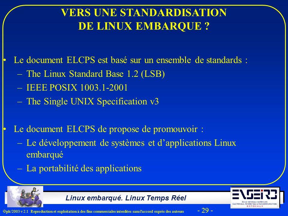 Linux embarqué. Linux Temps Réel pk/2003 v 2.1 Reproduction et exploitation à des fins commerciales interdites sans l'accord exprès des auteurs - 29 -