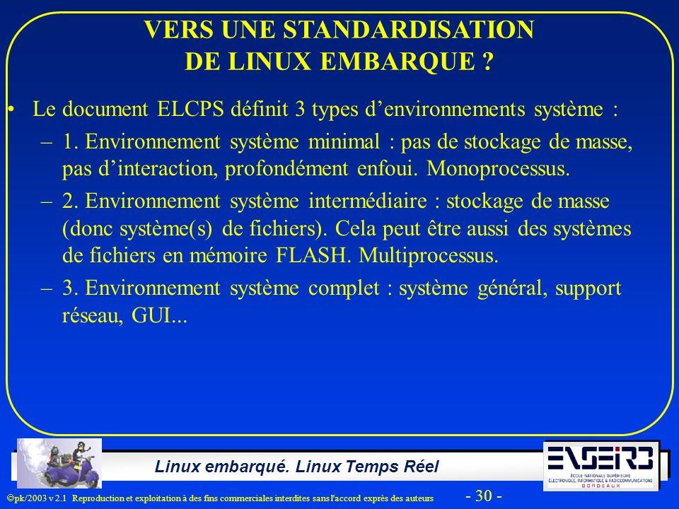 Linux embarqué. Linux Temps Réel pk/2003 v 2.1 Reproduction et exploitation à des fins commerciales interdites sans l'accord exprès des auteurs - 30 -