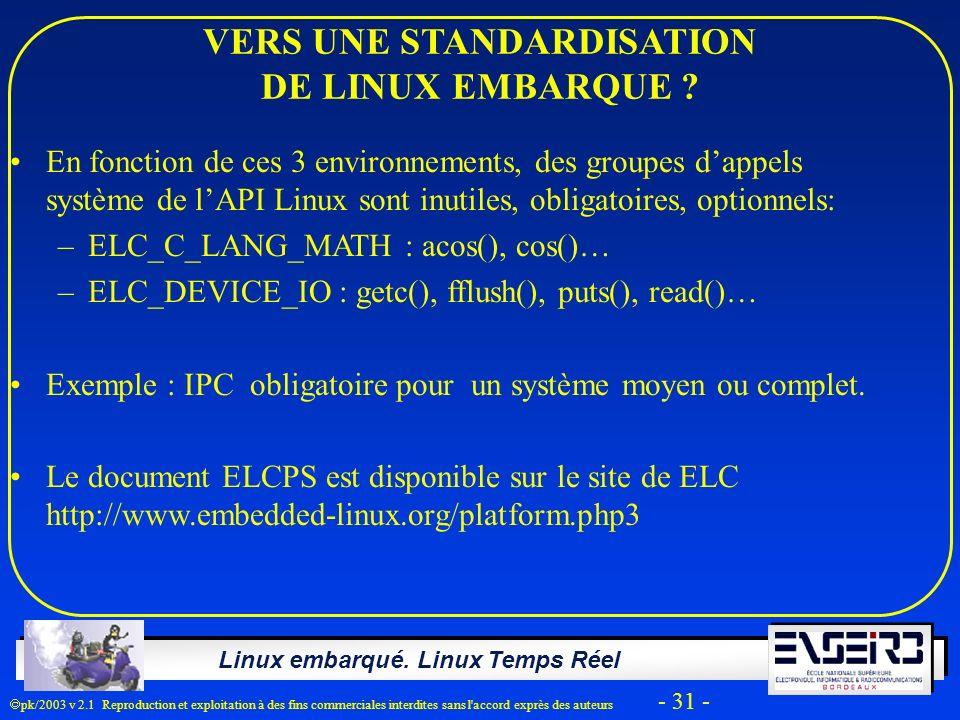 Linux embarqué. Linux Temps Réel pk/2003 v 2.1 Reproduction et exploitation à des fins commerciales interdites sans l'accord exprès des auteurs - 31 -