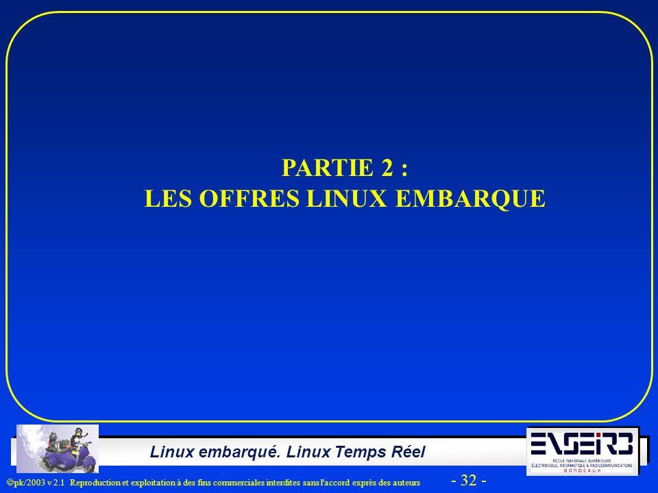 Linux embarqué. Linux Temps Réel pk/2003 v 2.1 Reproduction et exploitation à des fins commerciales interdites sans l'accord exprès des auteurs - 32 -