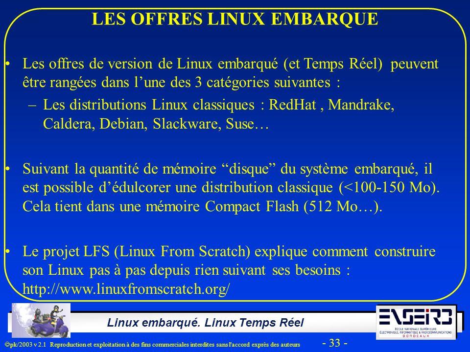 Linux embarqué. Linux Temps Réel pk/2003 v 2.1 Reproduction et exploitation à des fins commerciales interdites sans l'accord exprès des auteurs - 33 -