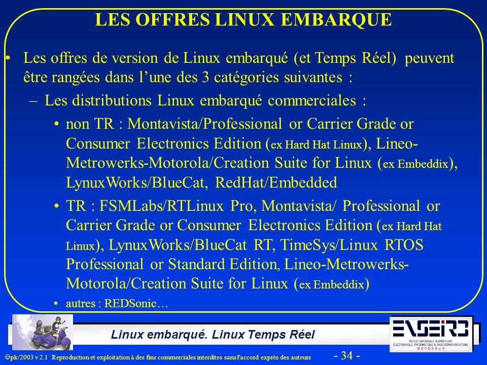 Linux embarqué. Linux Temps Réel pk/2003 v 2.1 Reproduction et exploitation à des fins commerciales interdites sans l'accord exprès des auteurs - 34 -