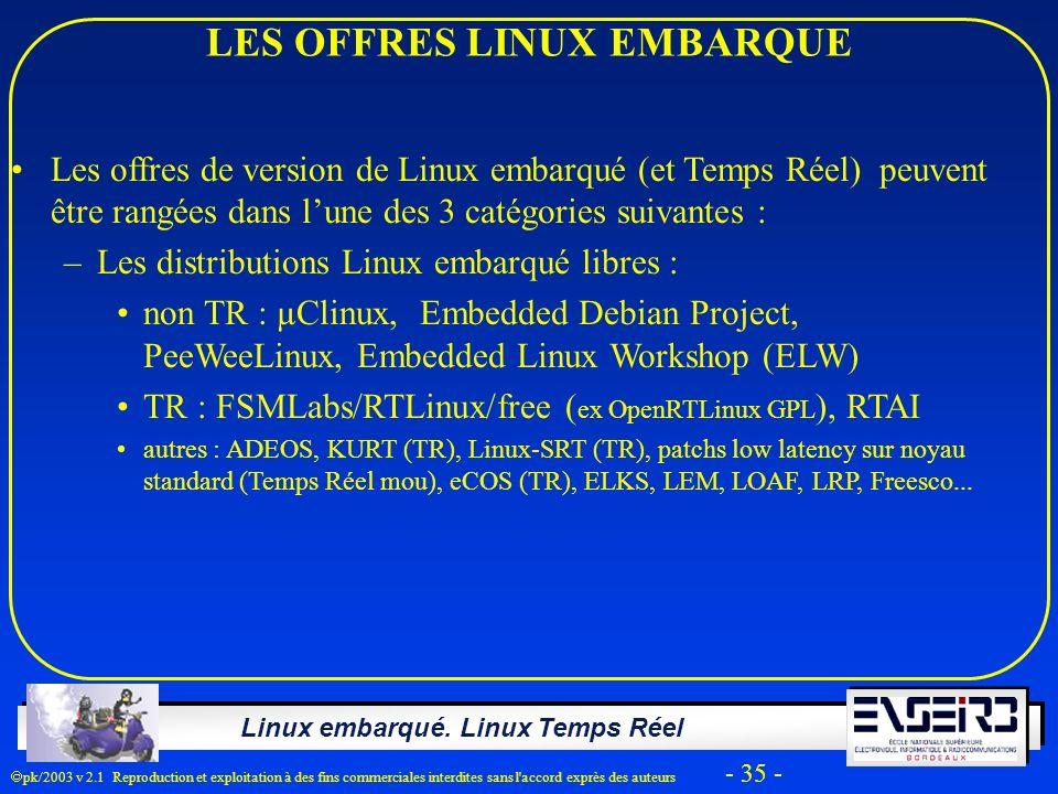 Linux embarqué. Linux Temps Réel pk/2003 v 2.1 Reproduction et exploitation à des fins commerciales interdites sans l'accord exprès des auteurs - 35 -