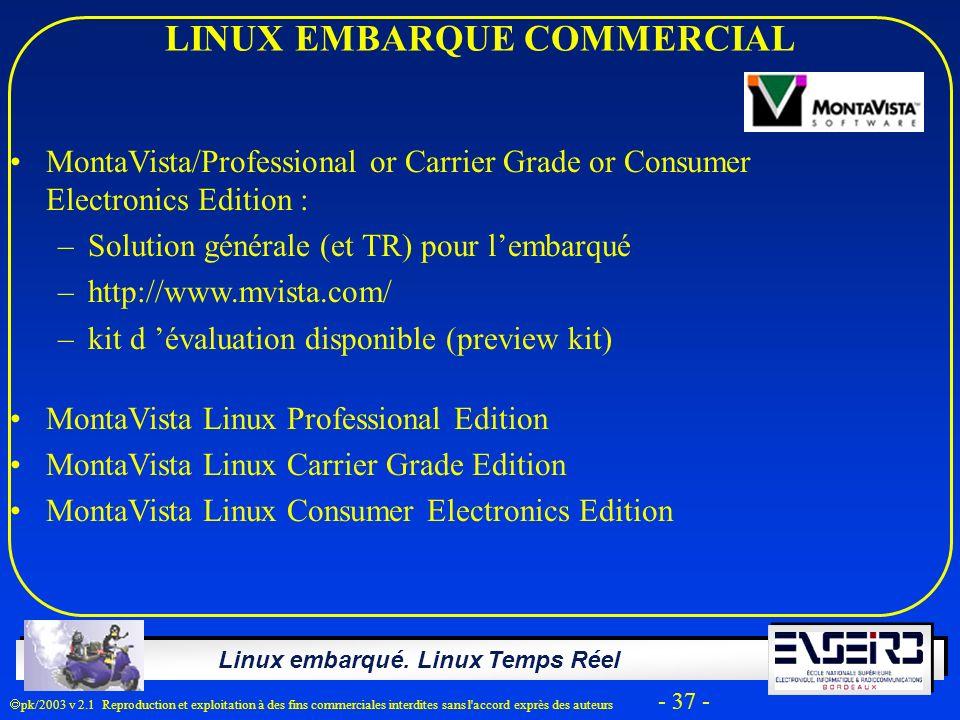 Linux embarqué. Linux Temps Réel pk/2003 v 2.1 Reproduction et exploitation à des fins commerciales interdites sans l'accord exprès des auteurs - 37 -