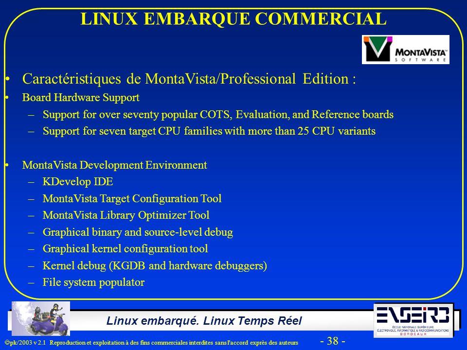 Linux embarqué. Linux Temps Réel pk/2003 v 2.1 Reproduction et exploitation à des fins commerciales interdites sans l'accord exprès des auteurs - 38 -