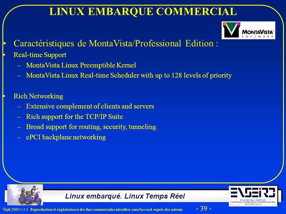 Linux embarqué. Linux Temps Réel pk/2003 v 2.1 Reproduction et exploitation à des fins commerciales interdites sans l'accord exprès des auteurs - 39 -