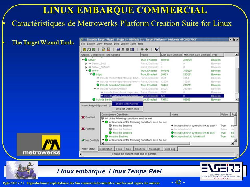Linux embarqué. Linux Temps Réel pk/2003 v 2.1 Reproduction et exploitation à des fins commerciales interdites sans l'accord exprès des auteurs - 42 -