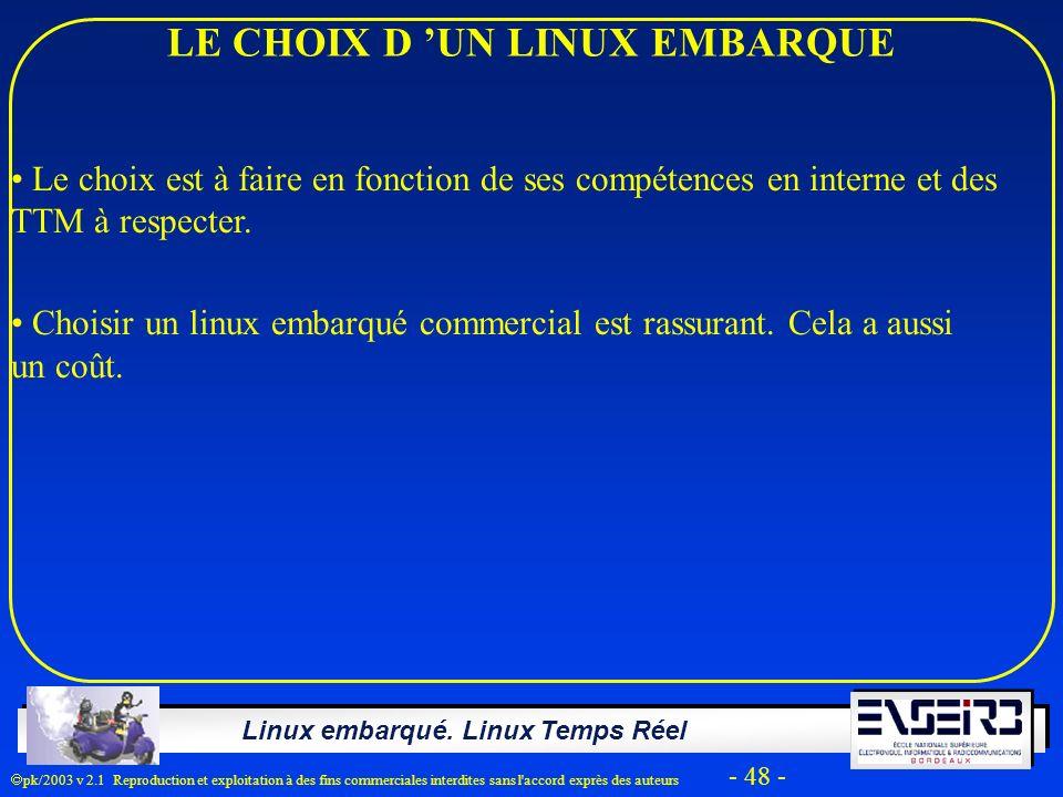 Linux embarqué. Linux Temps Réel pk/2003 v 2.1 Reproduction et exploitation à des fins commerciales interdites sans l'accord exprès des auteurs - 48 -