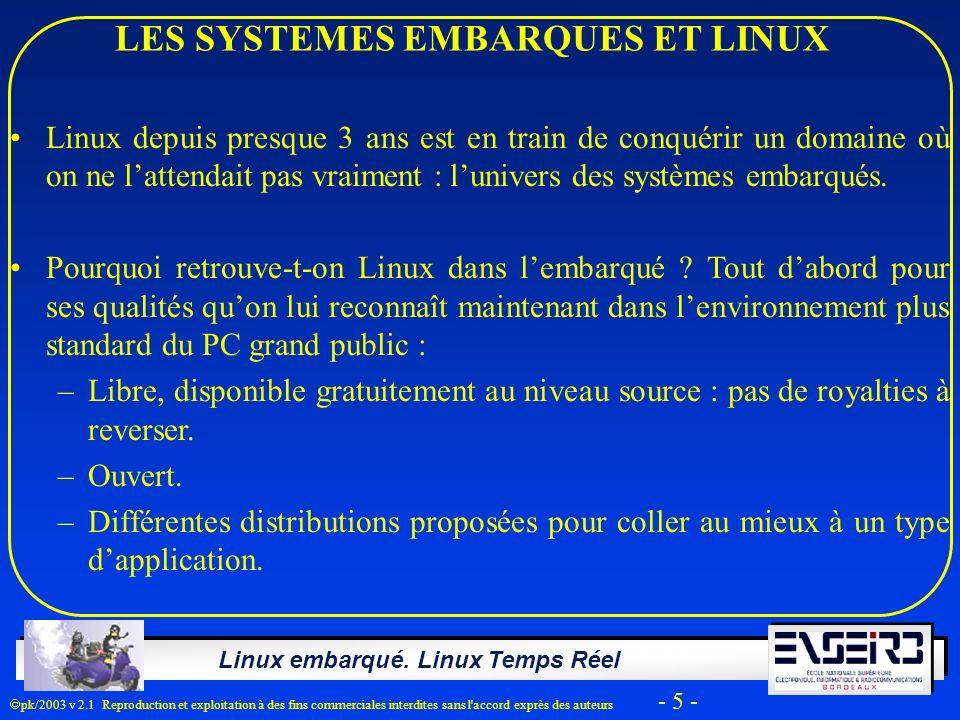 Linux embarqué. Linux Temps Réel pk/2003 v 2.1 Reproduction et exploitation à des fins commerciales interdites sans l'accord exprès des auteurs - 5 -
