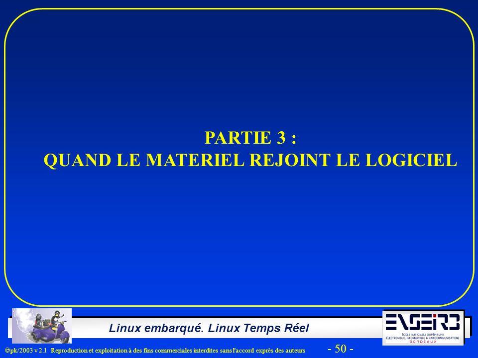 Linux embarqué. Linux Temps Réel pk/2003 v 2.1 Reproduction et exploitation à des fins commerciales interdites sans l'accord exprès des auteurs - 50 -