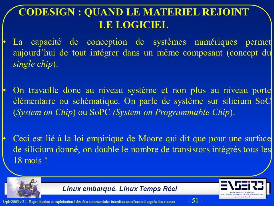 Linux embarqué. Linux Temps Réel pk/2003 v 2.1 Reproduction et exploitation à des fins commerciales interdites sans l'accord exprès des auteurs - 51 -