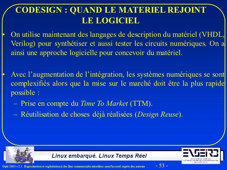Linux embarqué. Linux Temps Réel pk/2003 v 2.1 Reproduction et exploitation à des fins commerciales interdites sans l'accord exprès des auteurs - 53 -