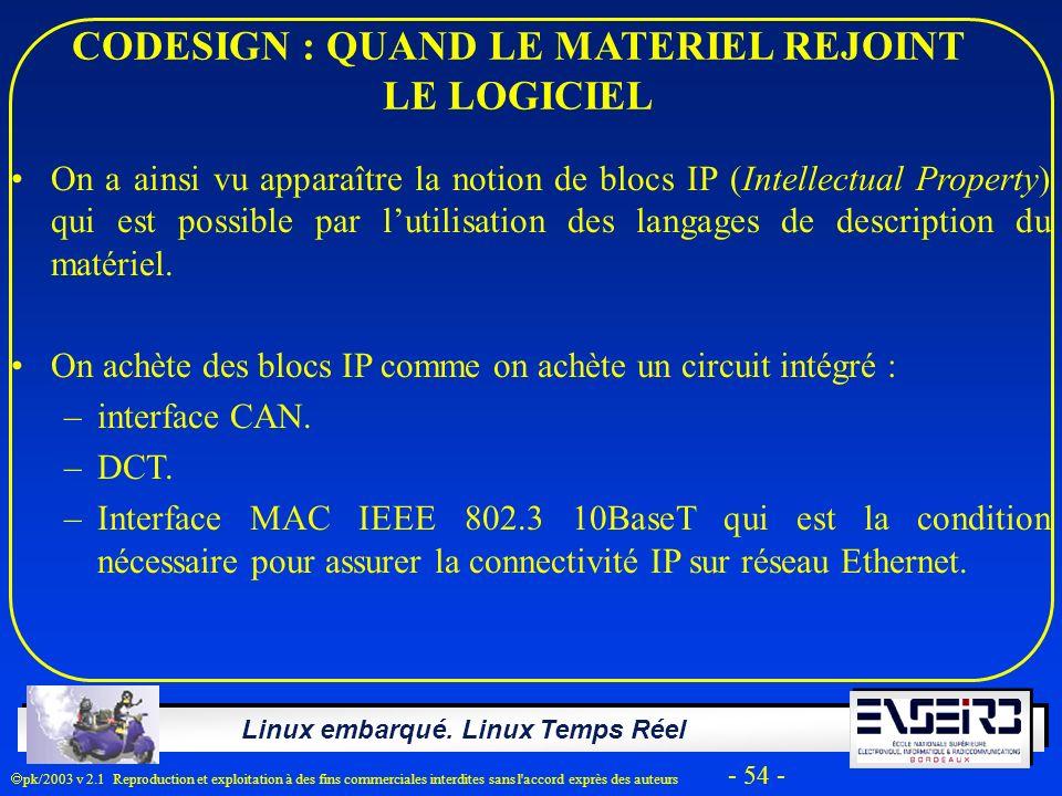 Linux embarqué. Linux Temps Réel pk/2003 v 2.1 Reproduction et exploitation à des fins commerciales interdites sans l'accord exprès des auteurs - 54 -
