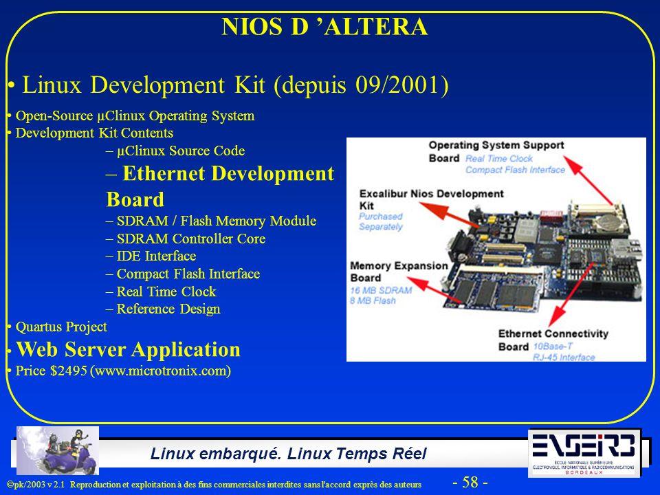 Linux embarqué. Linux Temps Réel pk/2003 v 2.1 Reproduction et exploitation à des fins commerciales interdites sans l'accord exprès des auteurs - 58 -