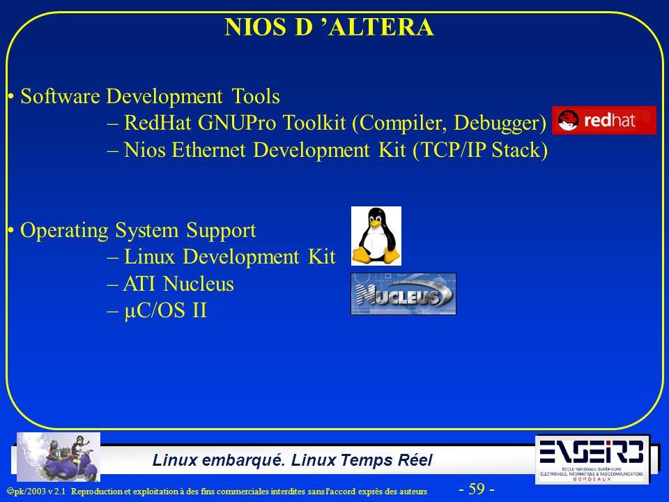 Linux embarqué. Linux Temps Réel pk/2003 v 2.1 Reproduction et exploitation à des fins commerciales interdites sans l'accord exprès des auteurs - 59 -