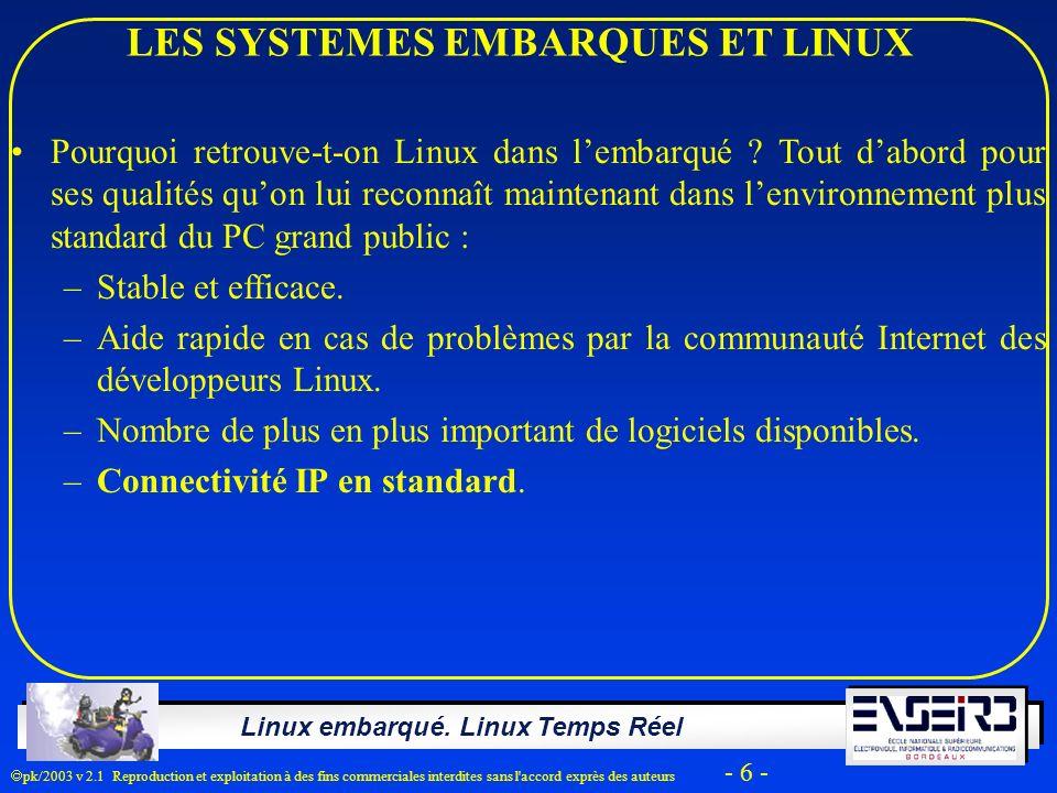 Linux embarqué. Linux Temps Réel pk/2003 v 2.1 Reproduction et exploitation à des fins commerciales interdites sans l'accord exprès des auteurs - 6 -