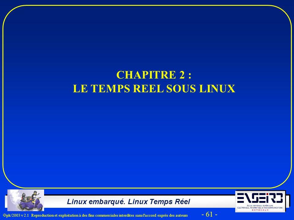 Linux embarqué. Linux Temps Réel pk/2003 v 2.1 Reproduction et exploitation à des fins commerciales interdites sans l'accord exprès des auteurs - 61 -