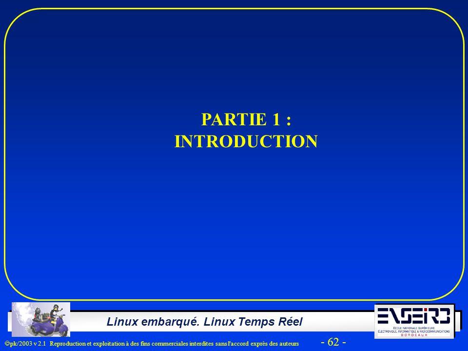Linux embarqué. Linux Temps Réel pk/2003 v 2.1 Reproduction et exploitation à des fins commerciales interdites sans l'accord exprès des auteurs - 62 -
