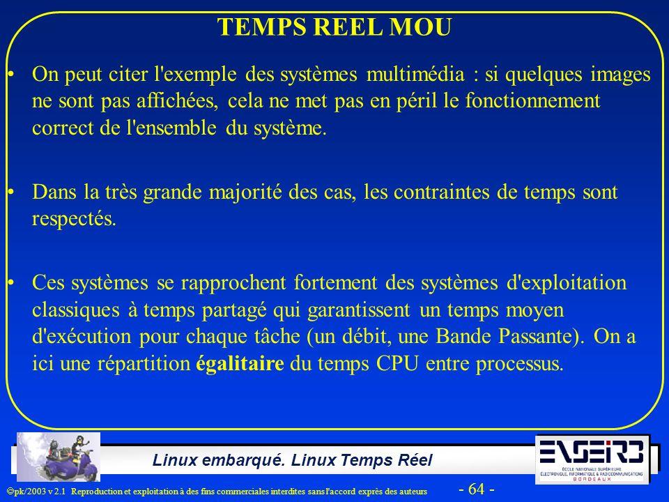 Linux embarqué. Linux Temps Réel pk/2003 v 2.1 Reproduction et exploitation à des fins commerciales interdites sans l'accord exprès des auteurs - 64 -