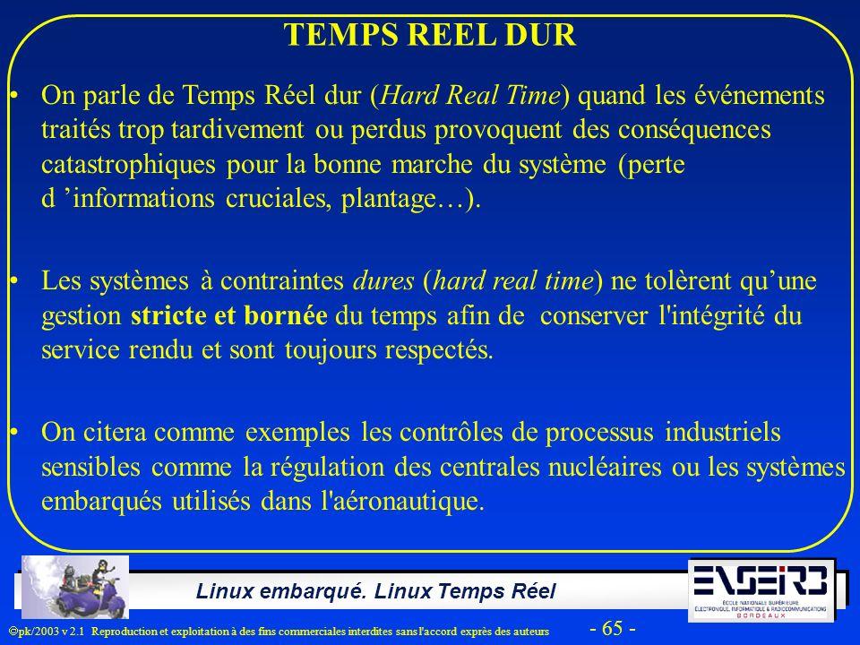 Linux embarqué. Linux Temps Réel pk/2003 v 2.1 Reproduction et exploitation à des fins commerciales interdites sans l'accord exprès des auteurs - 65 -