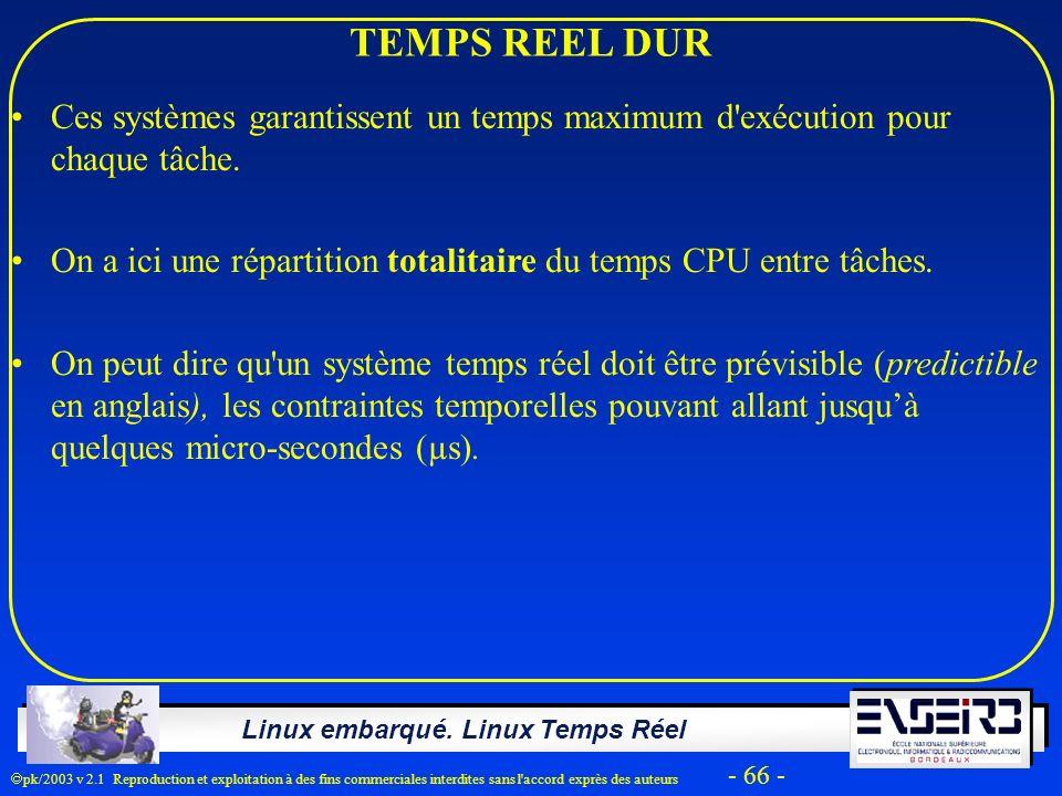 Linux embarqué. Linux Temps Réel pk/2003 v 2.1 Reproduction et exploitation à des fins commerciales interdites sans l'accord exprès des auteurs - 66 -