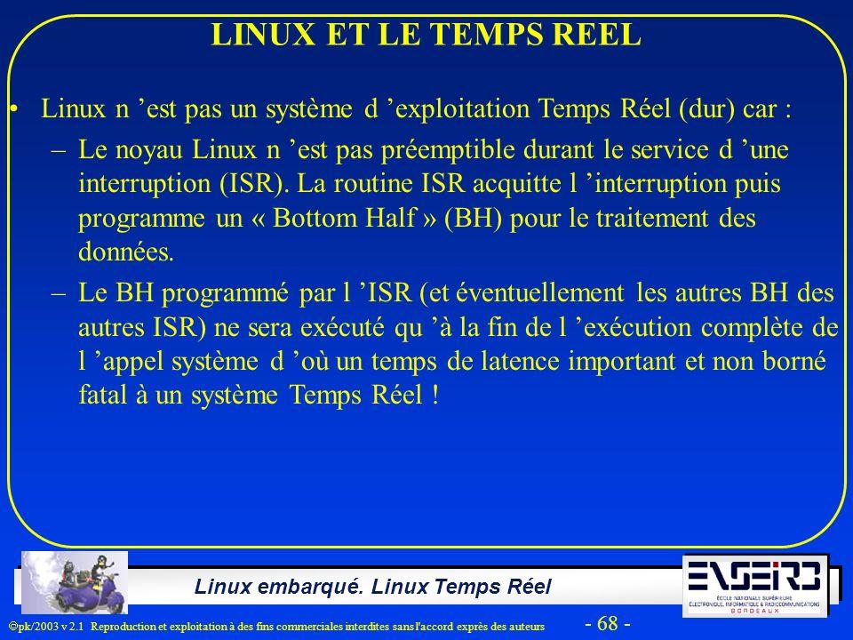 Linux embarqué. Linux Temps Réel pk/2003 v 2.1 Reproduction et exploitation à des fins commerciales interdites sans l'accord exprès des auteurs - 68 -