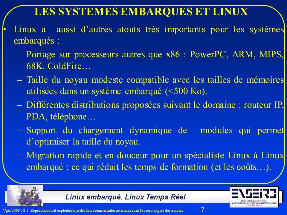 Linux embarqué. Linux Temps Réel pk/2003 v 2.1 Reproduction et exploitation à des fins commerciales interdites sans l'accord exprès des auteurs - 7 -