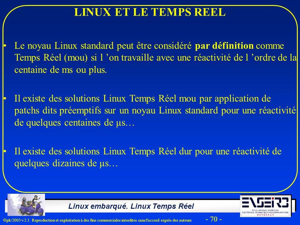 Linux embarqué. Linux Temps Réel pk/2003 v 2.1 Reproduction et exploitation à des fins commerciales interdites sans l'accord exprès des auteurs - 70 -