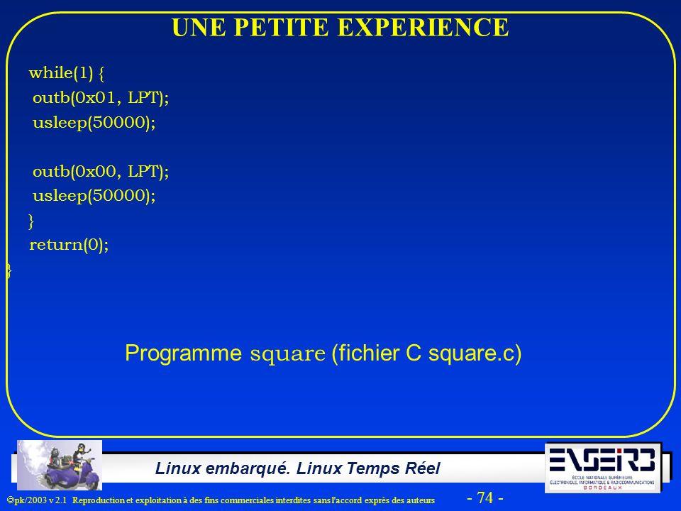 Linux embarqué. Linux Temps Réel pk/2003 v 2.1 Reproduction et exploitation à des fins commerciales interdites sans l'accord exprès des auteurs - 74 -
