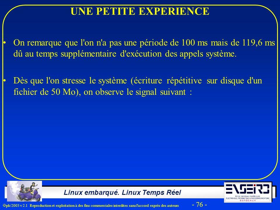 Linux embarqué. Linux Temps Réel pk/2003 v 2.1 Reproduction et exploitation à des fins commerciales interdites sans l'accord exprès des auteurs - 76 -