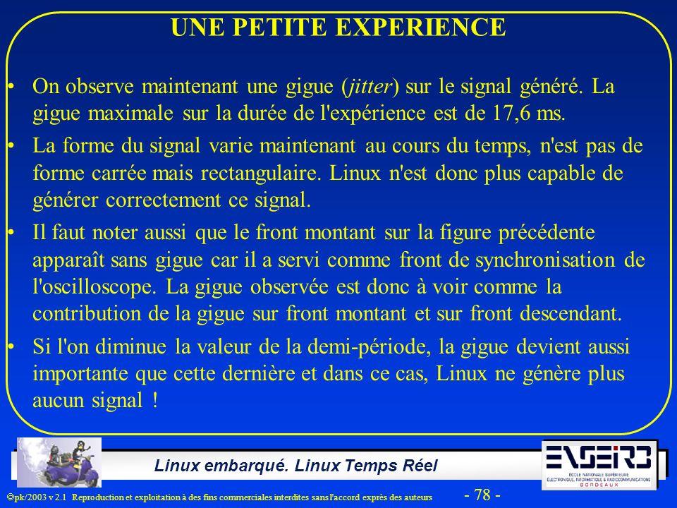 Linux embarqué. Linux Temps Réel pk/2003 v 2.1 Reproduction et exploitation à des fins commerciales interdites sans l'accord exprès des auteurs - 78 -