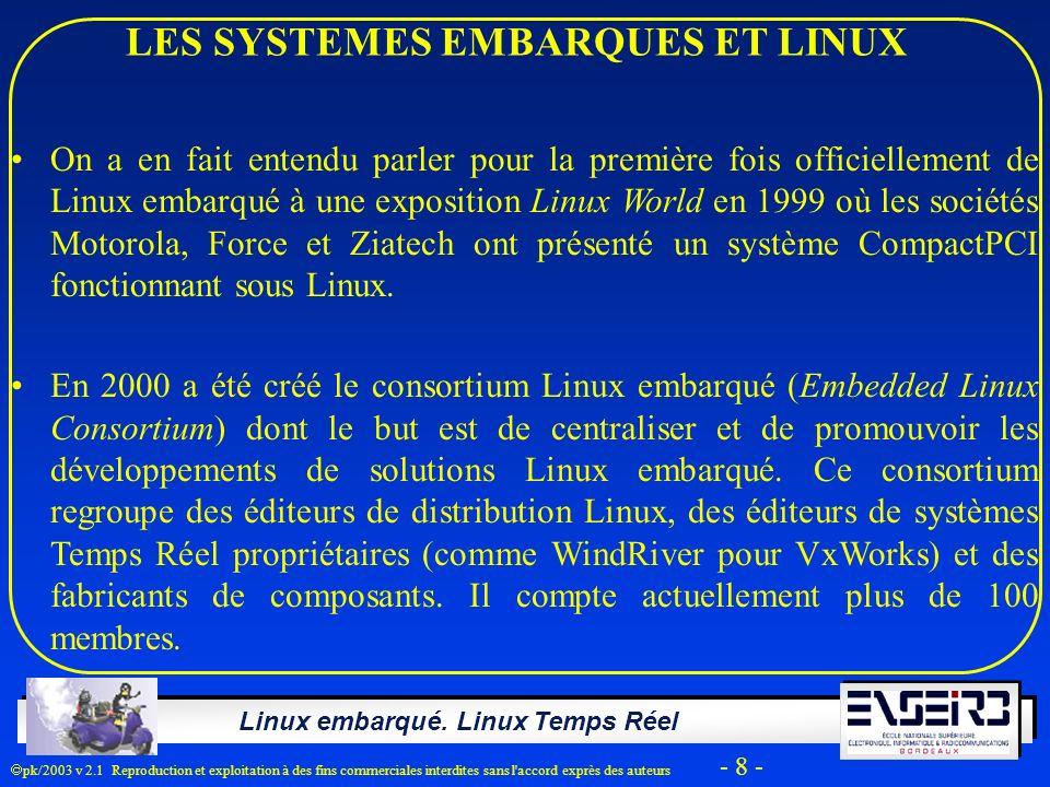 Linux embarqué. Linux Temps Réel pk/2003 v 2.1 Reproduction et exploitation à des fins commerciales interdites sans l'accord exprès des auteurs - 8 -