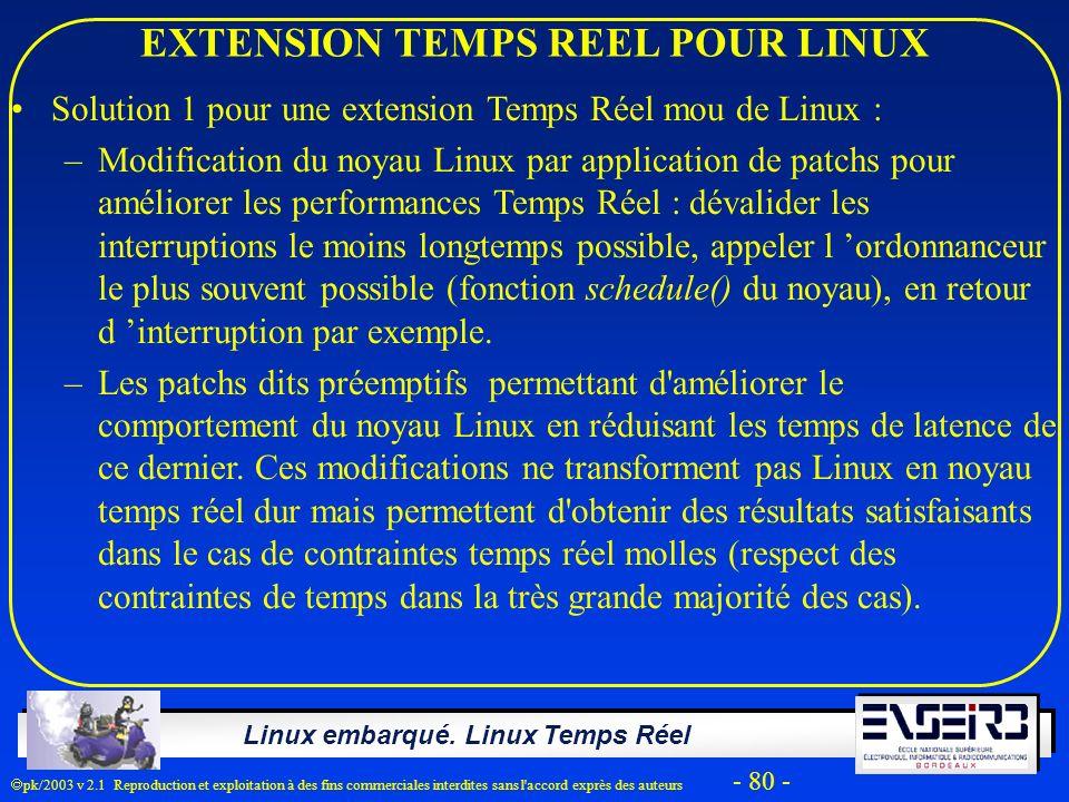 Linux embarqué. Linux Temps Réel pk/2003 v 2.1 Reproduction et exploitation à des fins commerciales interdites sans l'accord exprès des auteurs - 80 -